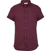 River Island MensPurple short sleeve Oxford shirt