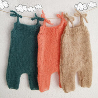 Choose color Mohair Knitted baby romper / Baby girl overall / baby boy / Newborn Photo props / Newborn photo outfit