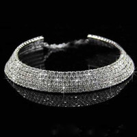 Sparkly choker 5 row Wedding Prom Crystal Stone Bridal Necklaces