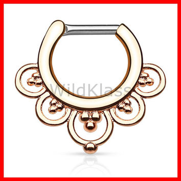 Rose Gold Flower Petals IP 316L Surgical Steel Septum Clicker 16g Earring 14g Cartilage Piercing Tragus Nose Septum Ring - Sold by Piece