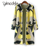MCCKLE Long Sleeve Sweater Women  Autumn Winter Fashion New Camouflage Long Knitted Female Cardigan Women's Trench ZY682