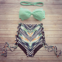 Bow Bandeau Bikini - Vintage Style High Waisted Swimwear - Unique Chevron Print with Criss Cross Cut Out Sides - Unique & So Cute!
