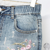 Plus Size Embroidered Ripped Denim Jeans