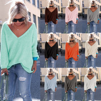 FREE SHIPPING Women's Tunic Sweater - Deep Vee Neckline / Long Sleeves