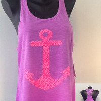 Racer tank w/ laced back- ANCHOR
