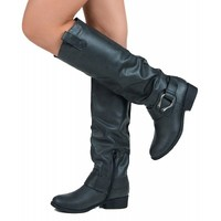 Qupid Plateau-17 Distressed Leatherette Mid Calf Buckle Motorcycle Boots BLACK