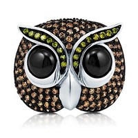 Multi-Colored Cubic Zirconia CZ 925 Sterling Silver Owl Fashion Ring #r690