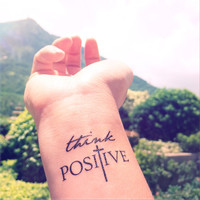 2pcs THINK POSITIVE Faith Cross  - InknArt Temporary Tattoo -  set wrist quote tattoo body sticker fake tattoo wedding tattoo small tattoo