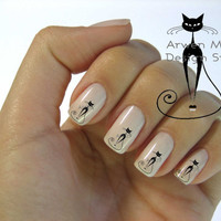 Very Chic Mod Black Cat Nail Art Waterslide Water Decals Miniature - cat-007