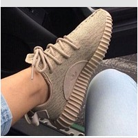 Cute Adidas Boost Sneakers Running Sports Shoes For Woman Men Khaki Yeezy