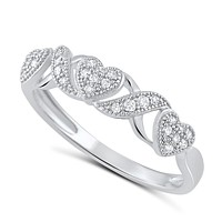 Sterling Silver Cz Thin XO Heart Stackable Ring