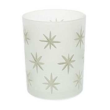 Frosted Glass Gold Star Hurricane - Medium
