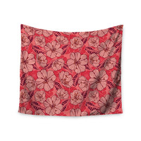 """Suzie Tremel """"Flutter Floral"""" Red Petals Wall Tapestry"""