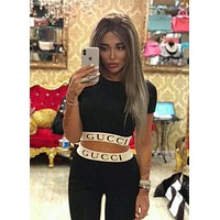 GUCCI BALENCIAGA MOSCHINO FENDI VERSACE Hot Sale Popular Women Personality Print Short Sleeve Top Tight Pants Trousers Set Two-Piece Sportswear I-AF-MMOH