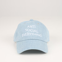 The Anti Social Club Dad Hat in Denim