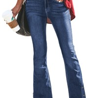 Womens Blue Anchor Point Bell Bottom Jeans