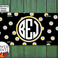 Monogram License Plate Daisy White Flower Pattern Cute Tumblr Accessory For Front License Plate Car Tag One Size Fits All Vehicle Custom