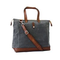 No. 35 The Olive, Carryall, Charcoal Waxed Canvas, Caramel Leather
