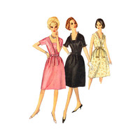 1960s Misses Dress Sewing Pattern 38 Bust Vestee Ruffle V Neckline Day or Cocktail Size 18 Simplicity 5708