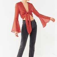 UO Tie-Front Bell-Sleeve Cropped Top | Urban Outfitters