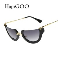 Designer Half Frame Cat Eye Sunglasses Women Show Party Sun Glasses Sexy Female Cat Eyes Sunglasses