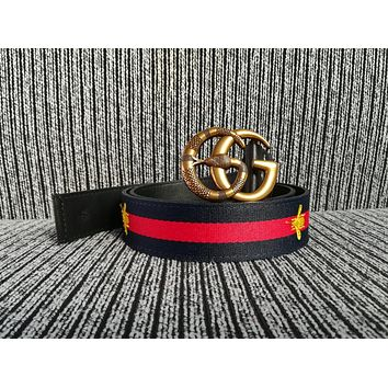 Dual G Women Men Fashion Smooth Buckle Belt Leather Belt