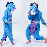 Soft Flannel Cartoon Anime Animal Onesuit Pajama Eeyore Donkey Costume (Slipper Not Included) - Halloween Carnival Party Clothing
