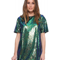 Blue and Green Sequined Shirt Dress