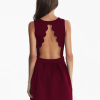 Fall Fashion Burgundy Red Sleeveless Backless Pleated Dress