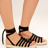 Circus by Sam Edelman Ariel Black Lace-Up Espadrilles