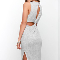 Everyday Goddess Light Grey Midi Dress