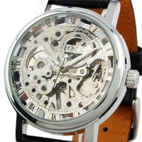 ESS Men's Black Leather Luxury Skeleton Dial Hand-Wind Up Mechanical Wrist Watch WM119
