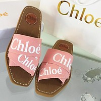 Chloe New cross braided Roman slippers shoes