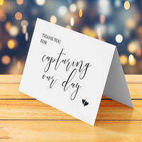 Thank you note to wedding photographer, Thank you for capturing our day card printable, Cute elegant wedding thank you greeting card digital
