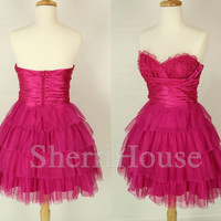 Lace Applique Sweetheart strapless A-Line Short Bridesmaid Celebrity Cocktail Dress ,Tulle Evening Party Prom New Homecoming Dress