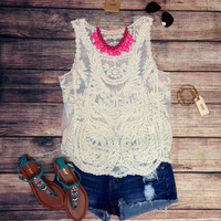 VINTAGE ROMANCE TANK IN IVORY