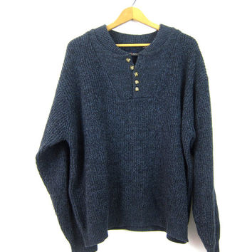 Dark Blue Henley Sweater Button Up Neck Pullover Preppy Slouchy 90s Ribbed Knit Sweater Unisex Vintage Men's Size Large