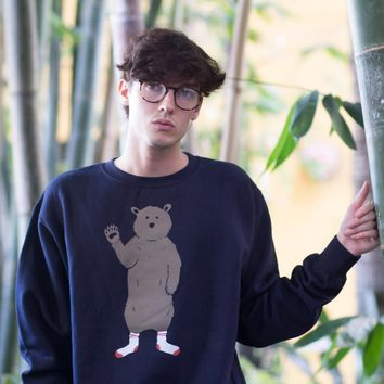 Bear in Socks Crew Neck Navy Sweatshirt by Altru Apparel
