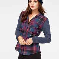 Full Tilt Womens Hooded Shirt Multi  In Sizes