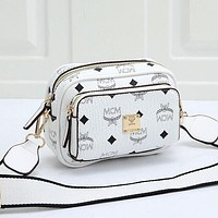 MCM women's classic logo letter zipper shoulder bag