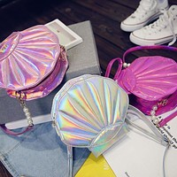9.99 USD Women Pu Holographic Shining Shell Style SHoulder Messenger Cross Body Tote Bags