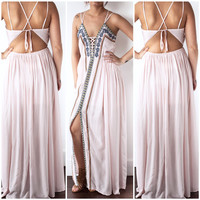 Flirty and Fun Embroidered Maxi in Baby Pink