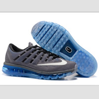 """NIKE"" Trending AirMax Toe Cap hook section knited Fashion Casual Sports Shoes Grey white hook (blue soles)"