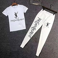 YSL Yves Saint Laurent Fashion Men Casual Print Short Sleeve Top Pants Two-Piece Set Sportswear