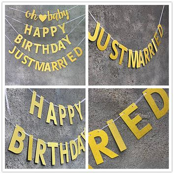 Glitter Letters Tags Birthday Wedding Garland Thanksgiving Flag Party Decorations Hanging Flag Banner Flags