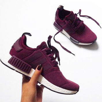 """Women """"Adidas"""" NMD Boost Casual Sports Shoes Wine red"""