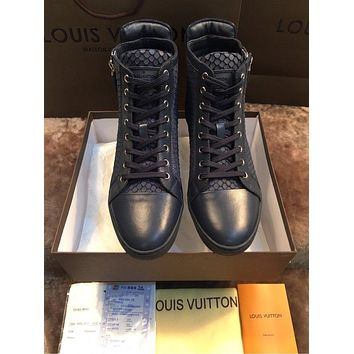 lv louis vuitton trending womens black leather side zip lace up ankle boots shoes high boots 201