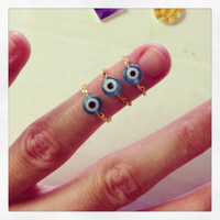 Cleopatra's single evil eye chain ring. gold or silver. made to order
