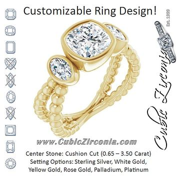 Cubic Zirconia Engagement Ring- The a'Malisa (Customizable 3-stone Cushion Cut Design with 2 Oval Cut Side Stones and Wide, Bubble-Bead Split-Band)