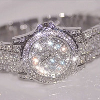 Ladies Women's Stainless Steel Silver Bling Diamond Crystal Rhinestone Expensive Wrist Watch (Size: 20 cm, Color: Silver) = 1956685508